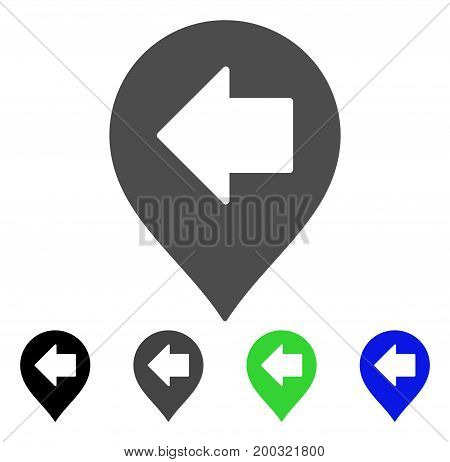 Left Arrow Marker flat vector pictograph. Colored left arrow marker, gray, black, blue, green pictogram versions. Flat icon style for web design.