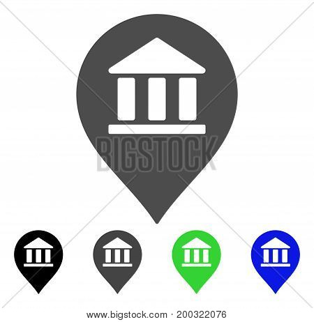 Library Map Marker flat vector illustration. Colored library map marker, gray, black, blue, green icon variants. Flat icon style for web design.