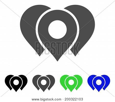 Location Markers flat vector pictograph. Colored location markers, gray, black, blue, green pictogram variants. Flat icon style for web design.