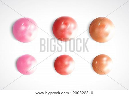 Collection of Smears lipstick isolated on white. Beauty and cosmetics background. Pink lip gloss.