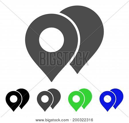 Map Markers flat vector icon. Colored map markers, gray, black, blue, green pictogram versions. Flat icon style for web design.
