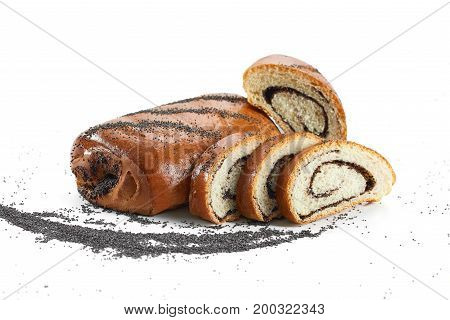 Studio shot of sliced cake with poppy filling isolated on white copyspace.