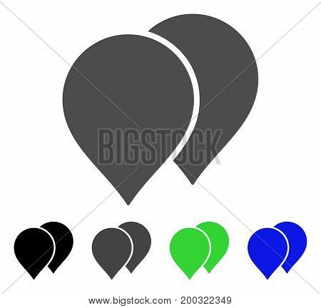 Map Pointers flat vector pictograph. Colored map pointers, gray, black, blue, green pictogram versions. Flat icon style for web design.