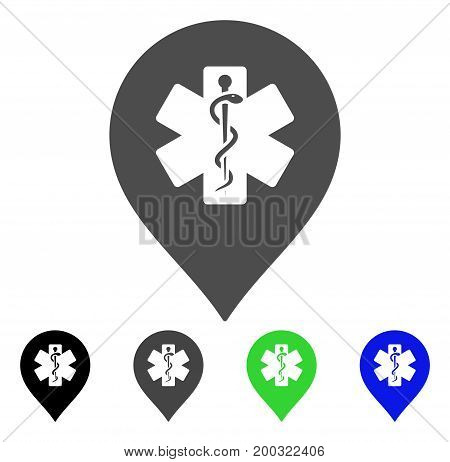 Medicine Marker flat vector pictograph. Colored medicine marker, gray, black, blue, green icon versions. Flat icon style for application design.