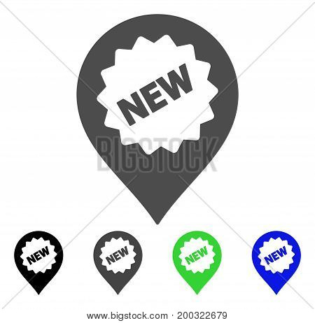 New Marker flat vector illustration. Colored new marker, gray, black, blue, green pictogram variants. Flat icon style for graphic design.