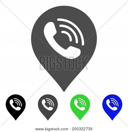 Phone Call Marker flat vector pictograph. Colored phone call marker, gray, black, blue, green pictogram versions. Flat icon style for web design.