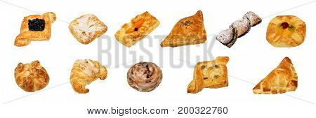 Different kinds of sweet and non sweet bakery isolated on white background with work path.