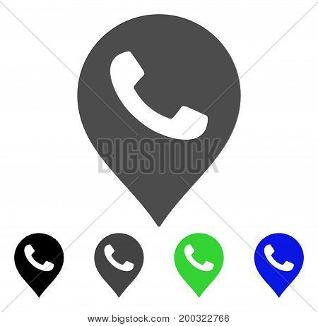 Phone Receiver Marker flat vector illustration. Colored phone receiver marker, gray, black, blue, green pictogram versions. Flat icon style for web design.