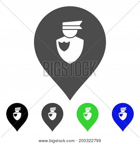Policeman Marker flat vector pictogram. Colored policeman marker, gray, black, blue, green icon versions. Flat icon style for application design.