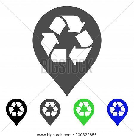 Recycle Map Marker flat vector icon. Colored recycle map marker, gray, black, blue, green icon variants. Flat icon style for graphic design.