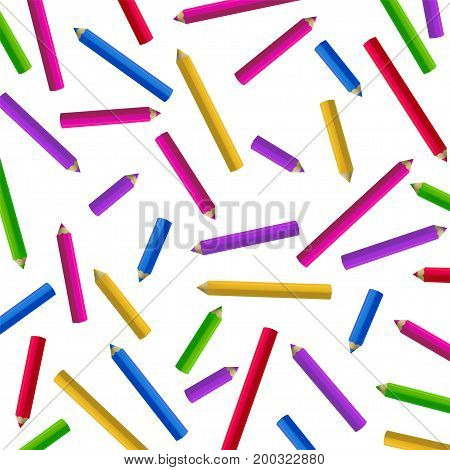 Colour pencils isolated on white. Vector background. Education and creativity concept.