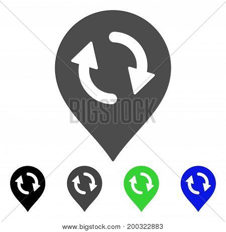 Refresh Map Marker flat vector icon. Colored refresh map marker, gray, black, blue, green pictogram versions. Flat icon style for application design.