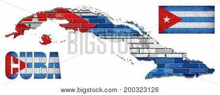 Cuba Flag Elements Vector Collection - Illustration,   Text with Cuba flag, Cuba flag in mosaic