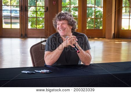 BETHEL NEW YORK - August 13 - Michael Lang author concert promoter and co organizer of the 1969 Woodstock concert at the Museum at Bethel Woods for a book signing on August 13 2017 in NY.