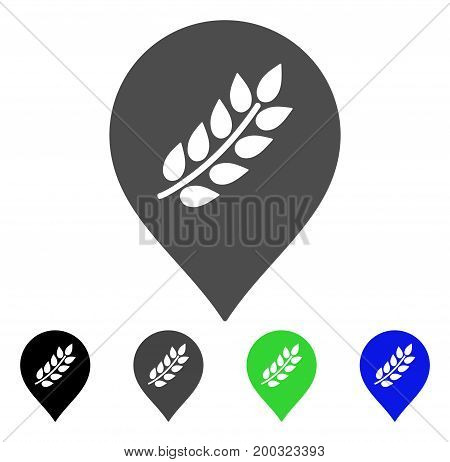 Rice Plantation Marker flat vector icon. Colored rice plantation marker, gray, black, blue, green pictogram versions. Flat icon style for graphic design.