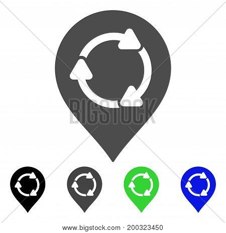 Rotation Map Marker flat vector illustration. Colored rotation map marker, gray, black, blue, green icon versions. Flat icon style for web design.
