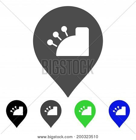 Shop Register Marker flat vector pictograph. Colored shop register marker, gray, black, blue, green icon variants. Flat icon style for application design.