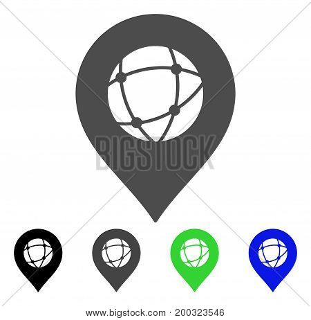 Sphere Marker flat vector pictograph. Colored sphere marker, gray, black, blue, green pictogram variants. Flat icon style for application design.