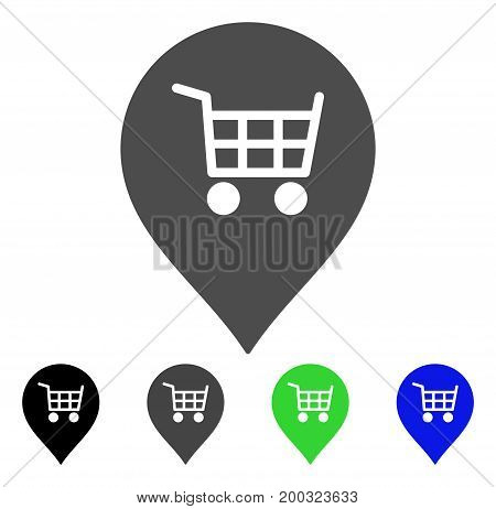 Supermarket Cart Marker flat vector pictograph. Colored supermarket cart marker, gray, black, blue, green icon variants. Flat icon style for web design.