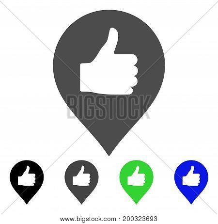 Thumb Up Map Marker flat vector pictograph. Colored thumb up map marker, gray, black, blue, green pictogram variants. Flat icon style for web design.