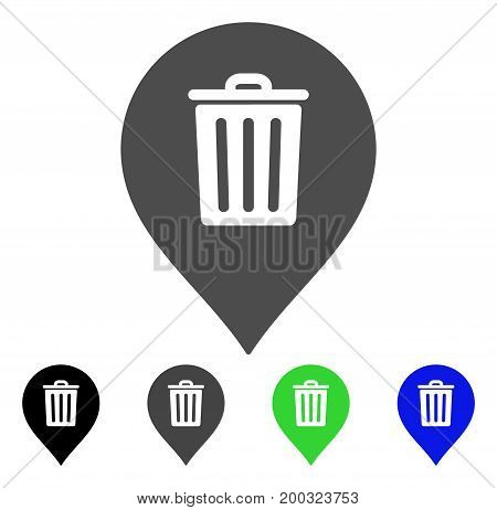 Trash Can Marker flat vector pictograph. Colored trash can marker, gray, black, blue, green icon versions. Flat icon style for web design.