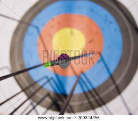 Bunch of arrows in the target with focus on one arrow's tail