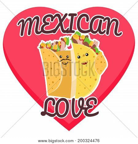 Mexican love symbol with hugging burrito and taco on pink heart background. Cute fast food burritos and tacos love characters embrace each other for cafe bar menu advertisement design