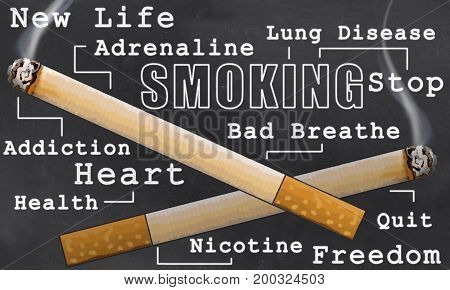 Stop smoking Illustrated on Blackboard in Classic Style