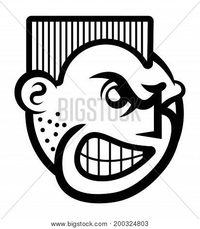 Vector illustration of smiley face icon of angry person