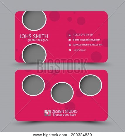 Business card. Design set template for company corporate style. Vector illustration. Pink color.