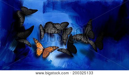 Graphic illustration of beautiful fully developed Monarch Butterfly among common gray black ones. Composition against hand painted blue oil paint background