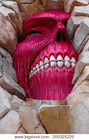 Osaka, Japan - March 26 2015:Attack on Titan attraction opens at Universal Studios japan captures the scale of the life-size statue