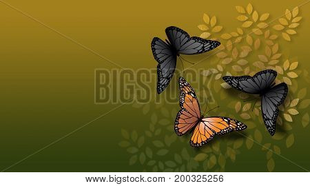 Graphic illustration of beautiful fully developed Monarch Butterfly confronted by undeveloped gray black ones. Simple geometric graphic leaves serve as background.