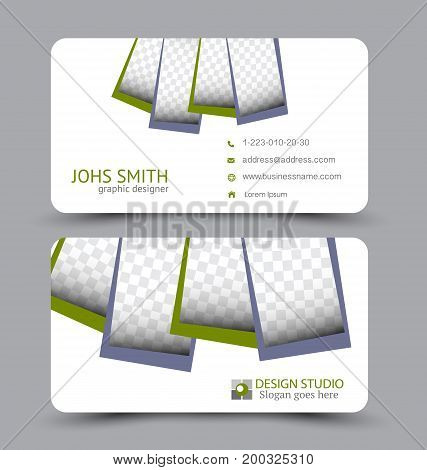 Business card. Design set template for company corporate style. Vector illustration. Grey and green color.