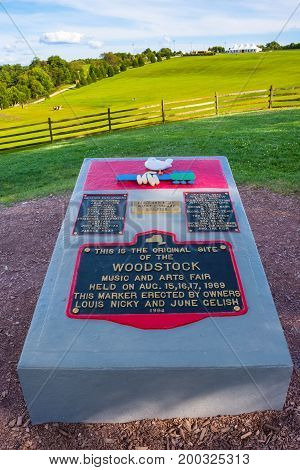 BETHEL NEW YORK - August 13 - A monument at the site of the original Woodstock Festival commemorates the location on August 13 2017 in Bethel NY.