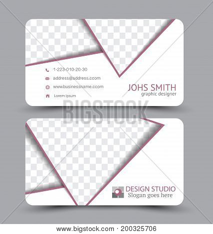 Business card. Design set template for company corporate style. Vector illustration. Red color.