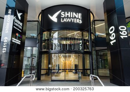 Brisbane, Australia - July 9, 2017: Shine Lawyers is a law firm listed on the Australian Stock Exchange. It has 41 offices nationally.
