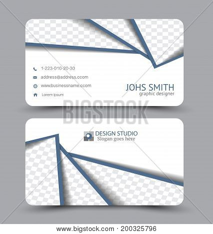 Business card. Design set template for company corporate style. Vector illustration. Blue color.