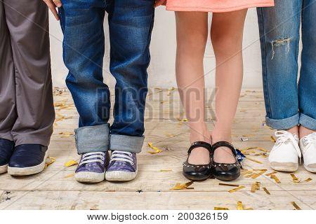 Little children friends studio isolated on white birthday celebration together legs