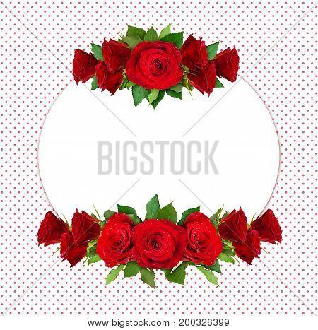 Red rose flowers round frame on polka dot background