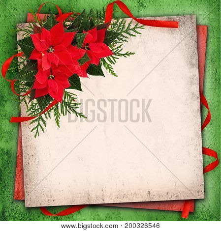 Christmas red poinsettia flowers arrangement and red ribbon bow on grunge paper background
