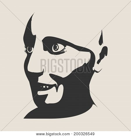 Surprised woman face with open mouth. Face half turn view. Elegant silhouette of a female head. Vector Illustration. Monochrome gamma.