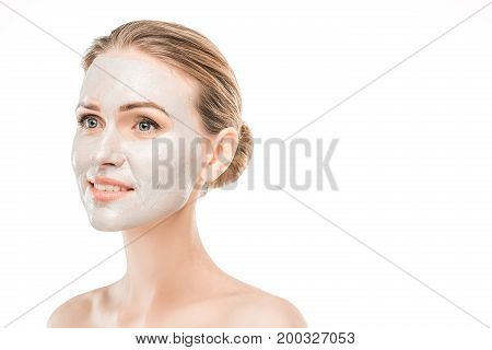 Mature female beauty health care studiio portrait facial mask