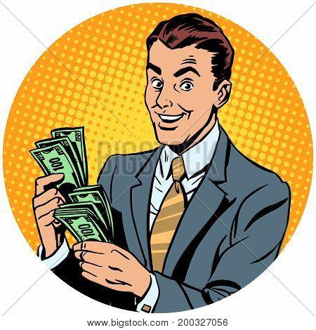 businessman counts money. pop art avatar character round icon. retro vector illustration