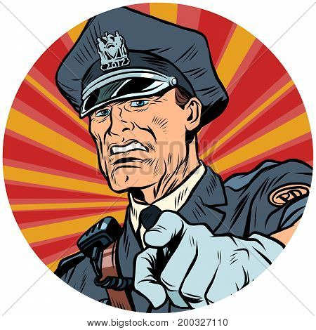 points serious police officer. pop art avatar character round icon. retro vector illustration