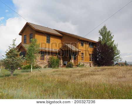 Granby CO - August 12: typical wood style home in rural Colorado