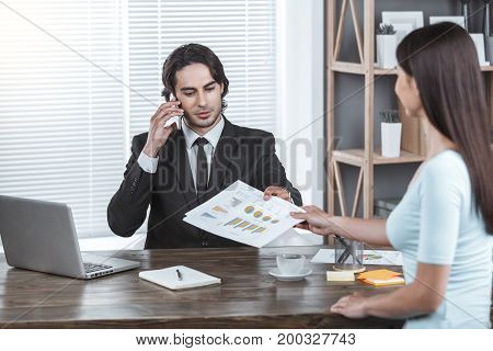 Business person working in the office service phone call