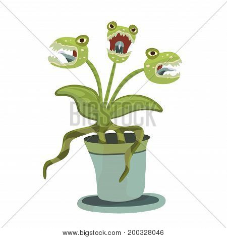 Carnivorous plant in a pot. Vector illustration for Halloween, isolated on white background.