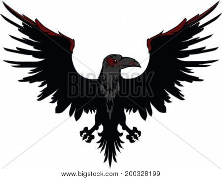 Dark Evil raven with spread wings vector illustration
