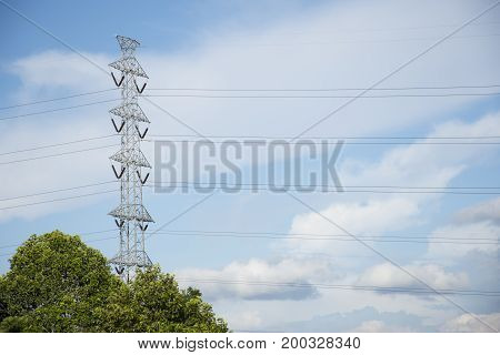 high voltage pole on the top of mountain hill Nature and Technology concept